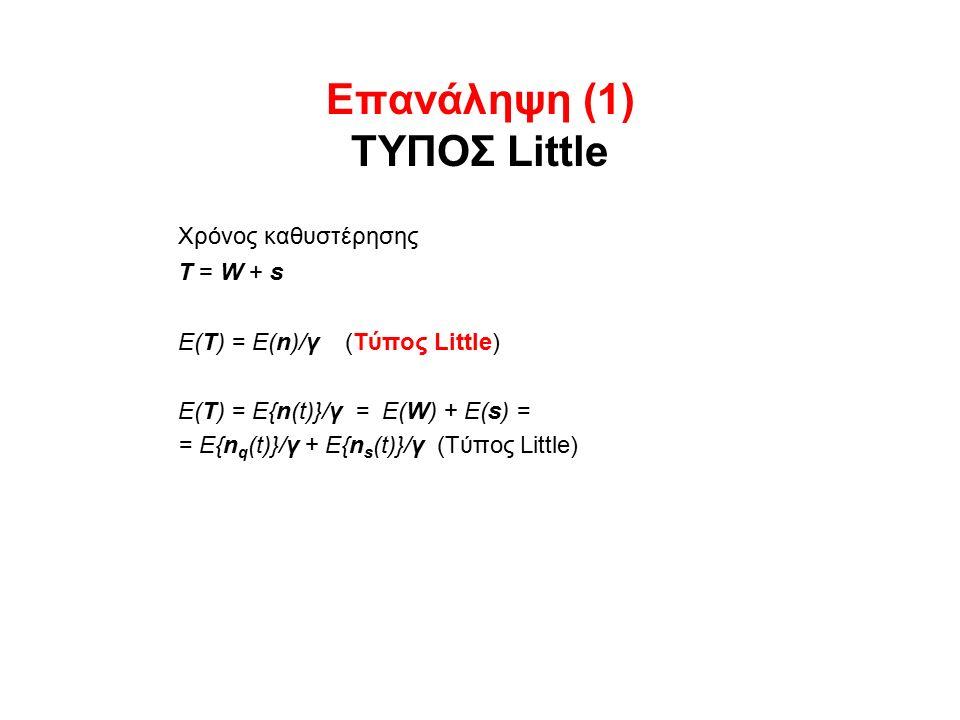 Επανάληψη (1) ΤΥΠΟΣ Little Χρόνος καθυστέρησης Τ = W + s Ε(Τ) = Ε(n)/γ (Τύπος Little) Ε(Τ) = E{n(t)}/γ = E(W) + E(s) = = E{n q (t)}/γ + E{n s (t)}/γ (Τύπος Little)