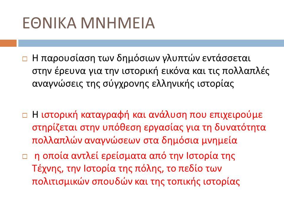 ΕΘΝΙΚΑ ΜΝΗΜΕΙΑ  Η παρουσίαση των δημόσιων γλυπτών εντάσσεται στην έρευνα για την ιστορική εικόνα και τις πολλαπλές αναγνώσεις της σύγχρονης ελληνικής ιστορίας  Η ιστορική καταγραφή και ανάλυση που επιχειρούμε στηρίζεται στην υπόθεση εργασίας για τη δυνατότητα πολλαπλών αναγνώσεων στα δημόσια μνημεία  η οποία αντλεί ερείσματα από την Ιστορία της Τέχνης, την Ιστορία της πόλης, το πεδίο των πολιτισμικών σπουδών και της τοπικής ιστορίας