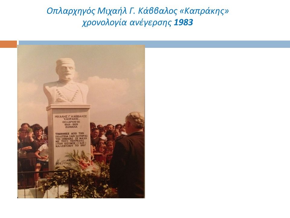 Οπλαρχηγός Μιχαήλ Γ. Κάββαλος « Καπράκης » χρονολογία ανέγερσης 1983