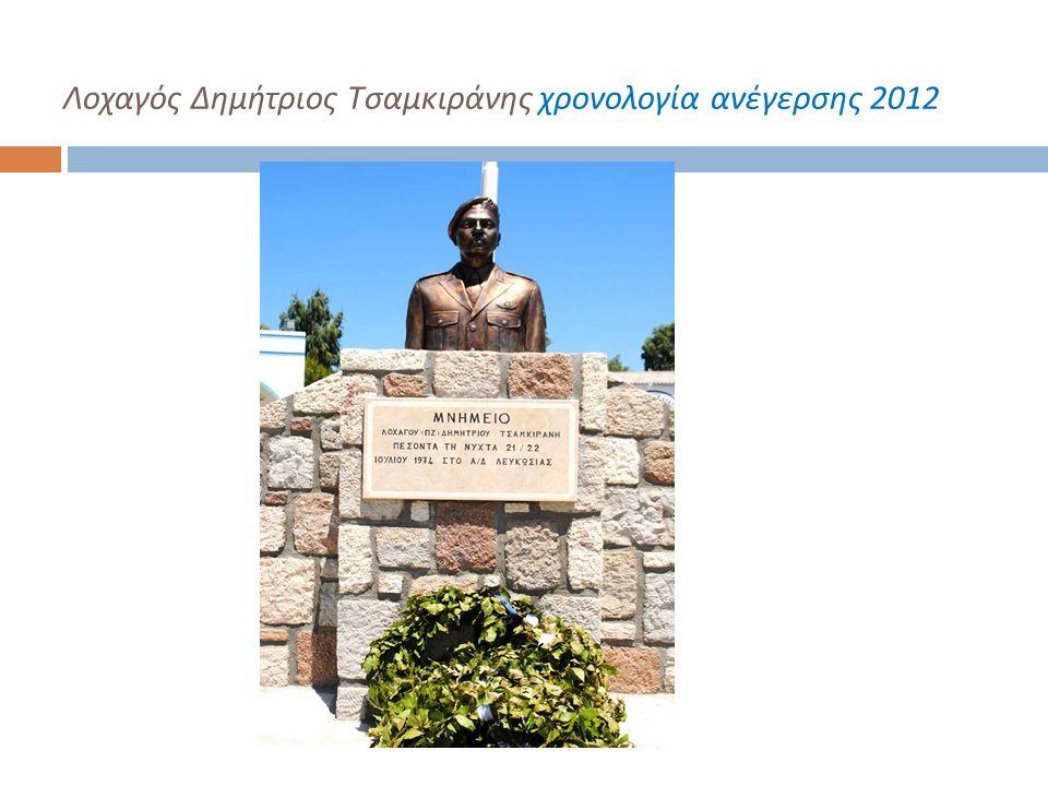 Λοχαγός Δημήτριος Τσαμκιράνης χρονολογία ανέγερσης 2012
