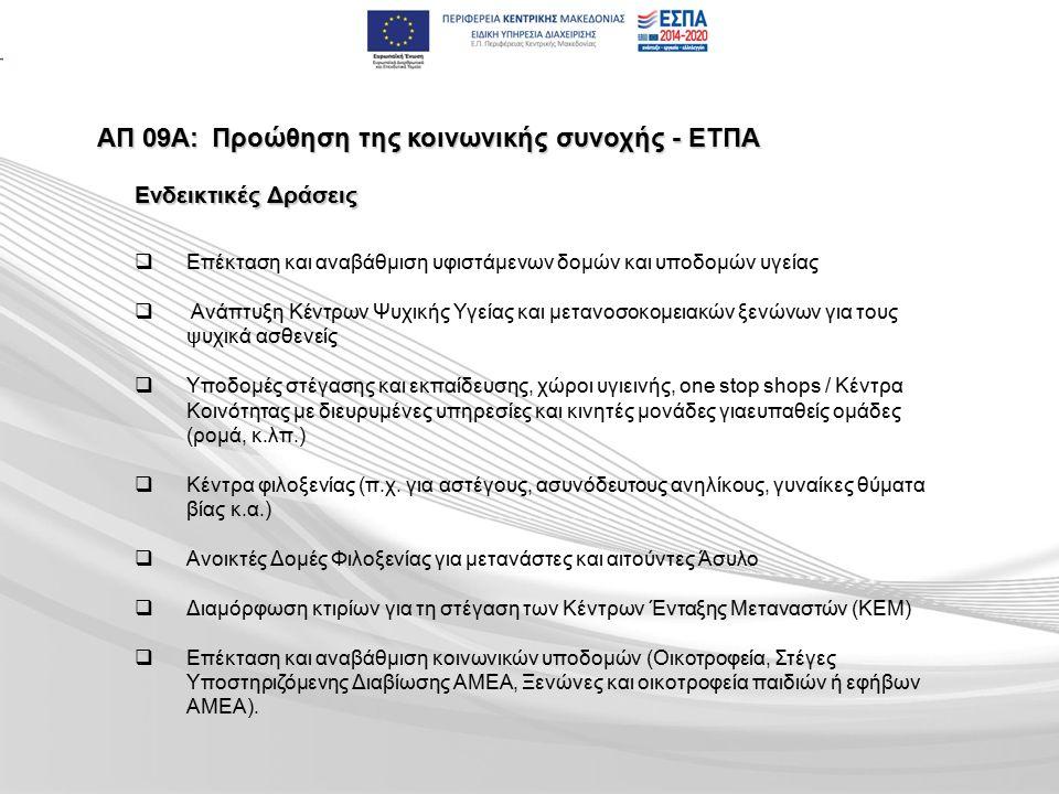 ΑΠ 09Α:Προώθηση της κοινωνικής συνοχής - ΕΤΠΑ   Επέκταση και αναβάθμιση υφιστάμενων δομών και υποδομών υγείας   Ανάπτυξη Κέντρων Ψυχικής Υγείας και μετανοσοκομειακών ξενώνων για τους ψυχικά ασθενείς   Υποδομές στέγασης και εκπαίδευσης, χώροι υγιεινής, one stop shops / Κέντρα Κοινότητας με διευρυμένες υπηρεσίες και κινητές μονάδες γιαευπαθείς ομάδες (ρομά, κ.λπ.)   Κέντρα φιλοξενίας (π.χ.
