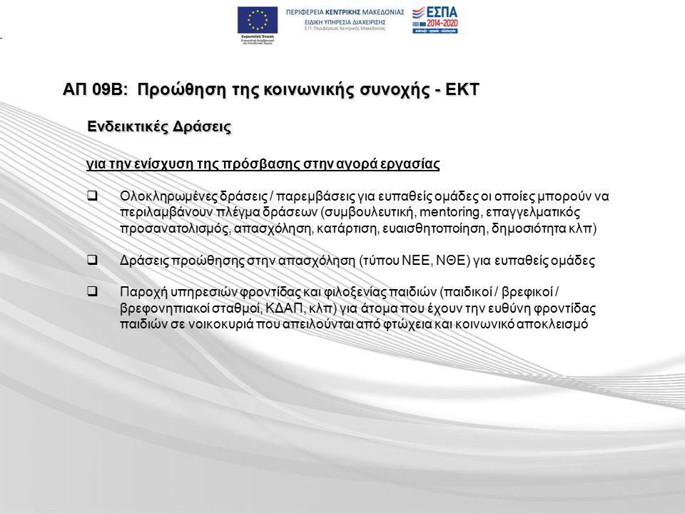 ΑΠ 09Β:Προώθηση της κοινωνικής συνοχής - ΕΚΤ για την ενίσχυση της πρόσβασης στην αγορά εργασίας   Ολοκληρωμένες δράσεις / παρεμβάσεις για ευπαθείς ομάδες οι οποίες μπορούν να περιλαμβάνουν πλέγμα δράσεων (συμβουλευτική, mentoring, επαγγελματικός προσανατολισμός, απασχόληση, κατάρτιση, ευαισθητοποίηση, δημοσιότητα κλπ)   Δράσεις προώθησης στην απασχόληση (τύπου ΝΕΕ, ΝΘΕ) για ευπαθείς ομάδες   Παροχή υπηρεσιών φροντίδας και φιλοξενίας παιδιών (παιδικοί / βρεφικοί / βρεφονηπιακοί σταθμοί, ΚΔΑΠ, κλπ) για άτομα που έχουν την ευθύνη φροντίδας παιδιών σε νοικοκυριά που απειλούνται από φτώχεια και κοινωνικό αποκλεισμό Ενδεικτικές Δράσεις
