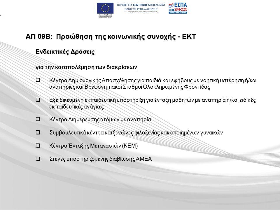 ΑΠ 09Β:Προώθηση της κοινωνικής συνοχής - ΕΚΤ για την καταπολέμηση των διακρίσεων   Κέντρα Δημιουργικής Απασχόλησης για παιδιά και εφήβους με νοητική υστέρηση ή/και αναπηρίες και Βρεφονηπιακοί Σταθμοί Ολοκληρωμένης Φροντίδας   Εξειδικευμένη εκπαιδευτική υποστήριξη για ένταξη μαθητών με αναπηρία ή/και ειδικές εκπαιδευτικές ανάγκες   Κέντρα Διημέρευσης ατόμων με αναπηρία   Συμβουλευτικά κέντρα και ξενώνες φιλοξενίας κακοποιημένων γυναικών   Κέντρα Ένταξης Μεταναστών (ΚΕΜ)   Στέγες υποστηριζόμενης διαβίωσης ΑΜΕΑ Ενδεικτικές Δράσεις