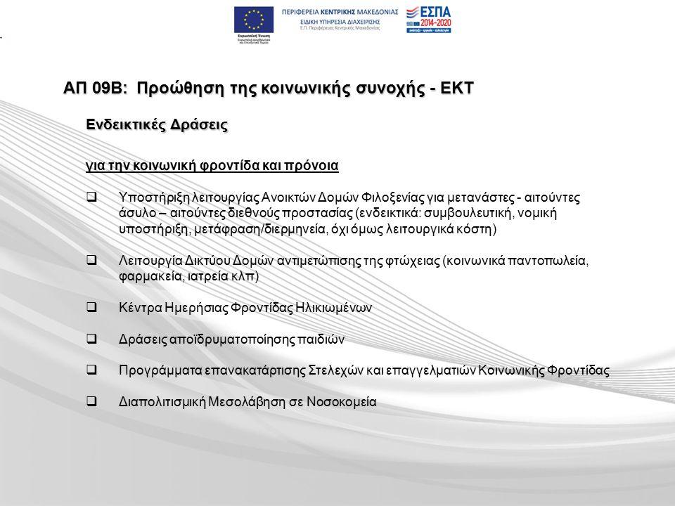 ΑΠ 09Β:Προώθηση της κοινωνικής συνοχής - ΕΚΤ για την κοινωνική φροντίδα και πρόνοια   Υποστήριξη λειτουργίας Ανοικτών Δομών Φιλοξενίας για μετανάστες - αιτούντες άσυλο – αιτούντες διεθνούς προστασίας (ενδεικτικά: συμβουλευτική, νομική υποστήριξη, μετάφραση/διερμηνεία, όχι όμως λειτουργικά κόστη)   Λειτουργία Δικτύου Δομών αντιμετώπισης της φτώχειας (κοινωνικά παντοπωλεία, φαρμακεία, ιατρεία κλπ)   Κέντρα Ημερήσιας Φροντίδας Ηλικιωμένων   Δράσεις αποϊδρυματοποίησης παιδιών   Προγράμματα επανακατάρτισης Στελεχών και επαγγελματιών Κοινωνικής Φροντίδας   Διαπολιτισμική Μεσολάβηση σε Νοσοκομεία Ενδεικτικές Δράσεις