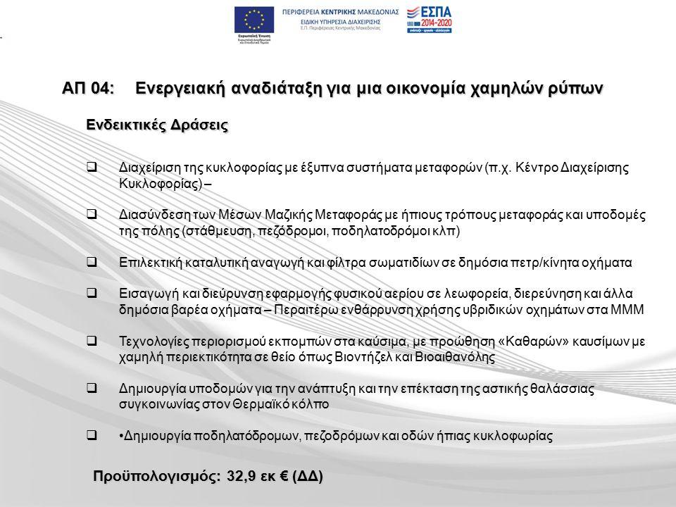 ΑΠ 04:Ενεργειακή αναδιάταξη για μια οικονομία χαμηλών ρύπων   Διαχείριση της κυκλοφορίας με έξυπνα συστήματα μεταφορών (π.χ.