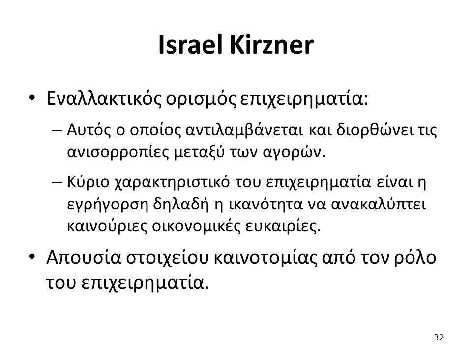 Israel Kirzner 32 Εναλλακτικός ορισμός επιχειρηματία: – Αυτός ο οποίος αντιλαμβάνεται και διορθώνει τις ανισορροπίες μεταξύ των αγορών.