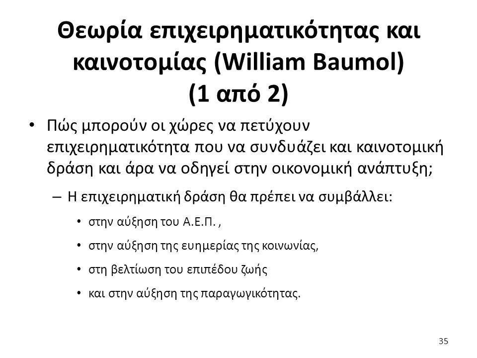 Θεωρία επιχειρηματικότητας και καινοτομίας (William Baumol) (1 από 2) Πώς μπορούν οι χώρες να πετύχουν επιχειρηματικότητα που να συνδυάζει και καινοτομική δράση και άρα να οδηγεί στην οικονομική ανάπτυξη; – Η επιχειρηματική δράση θα πρέπει να συμβάλλει: στην αύξηση του Α.Ε.Π., στην αύξηση της ευημερίας της κοινωνίας, στη βελτίωση του επιπέδου ζωής και στην αύξηση της παραγωγικότητας.