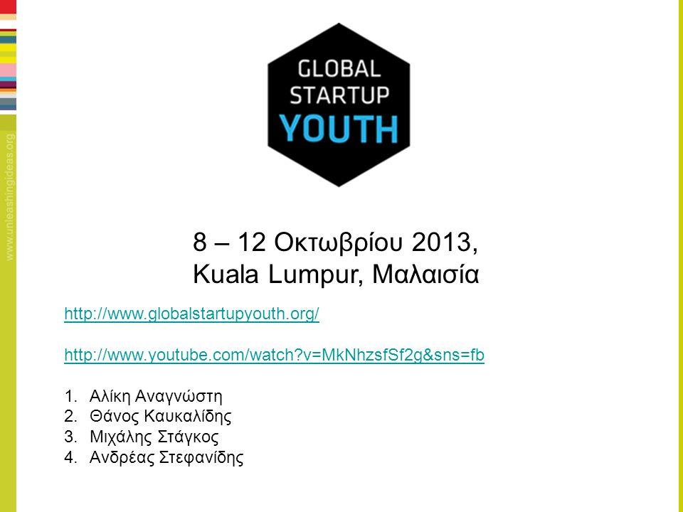 http://www.globalstartupyouth.org/ http://www.youtube.com/watch v=MkNhzsfSf2g&sns=fb 1.Αλίκη Αναγνώστη 2.Θάνος Καυκαλίδης 3.Μιχάλης Στάγκος 4.Ανδρέας Στεφανίδης 8 – 12 Οκτωβρίου 2013, Kuala Lumpur, Μαλαισία