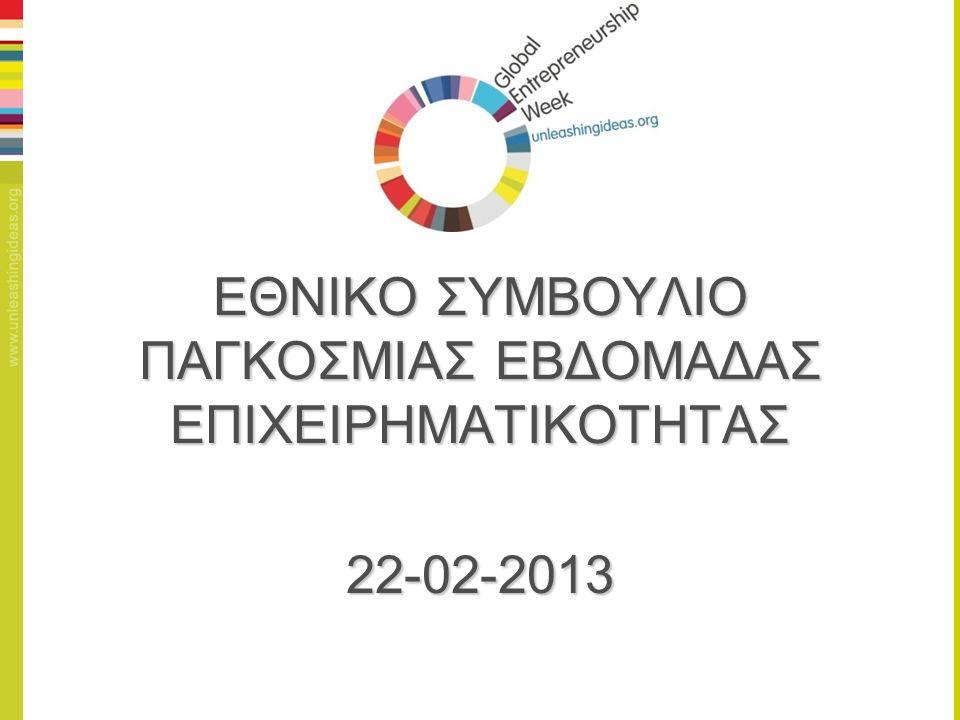 ΕΘΝΙΚΟ ΣΥΜΒΟΥΛΙΟ ΠΑΓΚΟΣΜΙΑΣ ΕΒΔΟΜΑΔΑΣ ΕΠΙΧΕΙΡΗΜΑΤΙΚΟΤΗΤΑΣ 22-02-2013