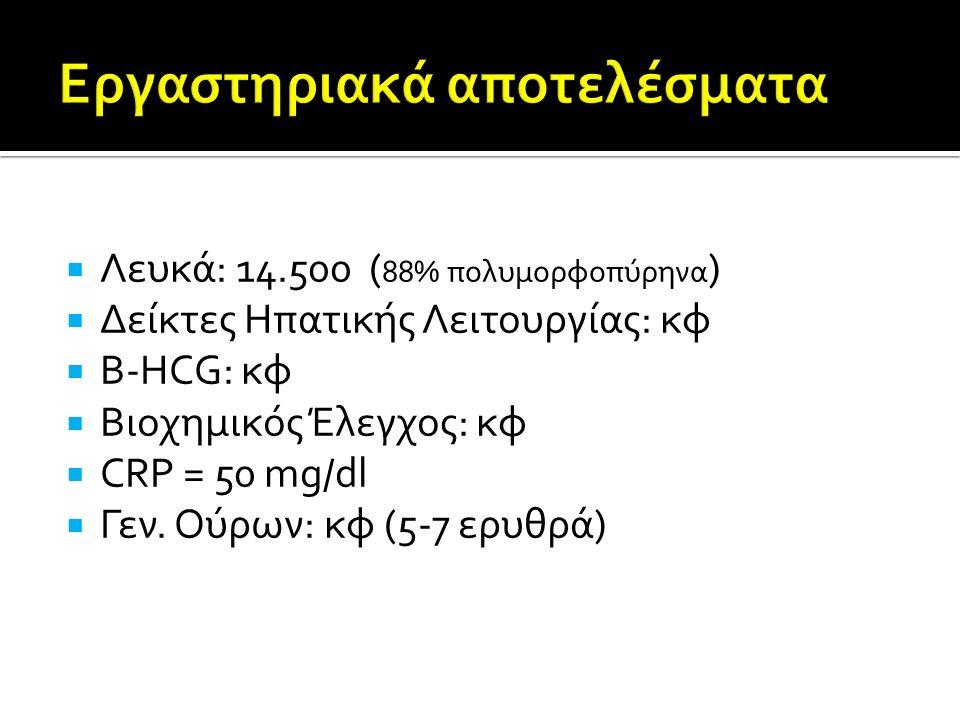  Λευκά: 14.500 ( 88% πολυμορφοπύρηνα )  Δείκτες Ηπατικής Λειτουργίας: κφ  B-HCG: κφ  Βιοχημικός Έλεγχος: κφ  CRP = 50 mg/dl  Γεν.