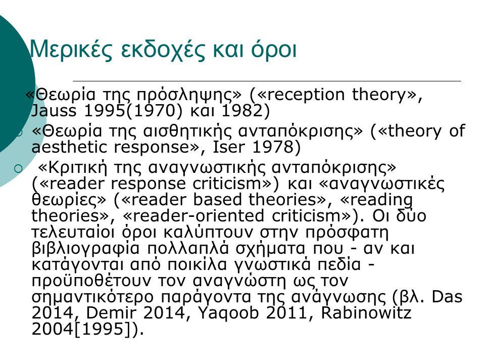 Μερικές εκδοχές και όροι «Θεωρία της πρόσληψης» («reception theory», Jauss 1995(1970) και 1982)  «Θεωρία της αισθητικής ανταπόκρισης» («theory of aesthetic response», Iser 1978)  «Κριτική της αναγνωστικής ανταπόκρισης» («reader response criticism») και «αναγνωστικές θεωρίες» («reader based theories», «reading theories», «reader-oriented criticism»).