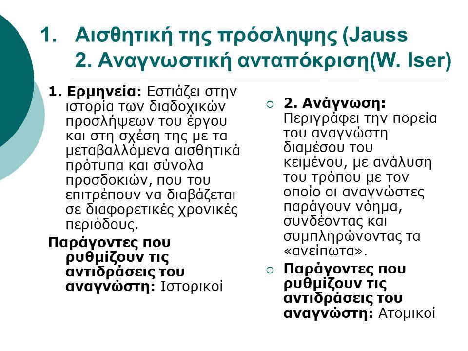 1.Αισθητική της πρόσληψης (Jauss 2. Αναγνωστική ανταπόκριση(W. Iser) 1. Ερμηνεία: Εστιάζει στην ιστορία των διαδοχικών προσλήψεων του έργου και στη σχ