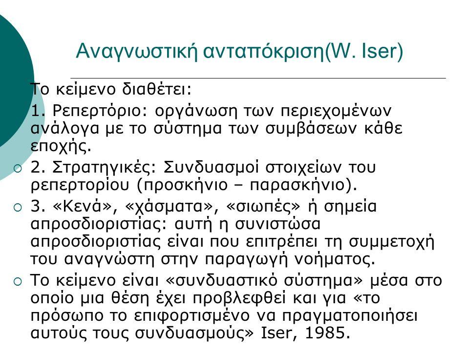 Αναγνωστική ανταπόκριση(W. Iser)  Το κείμενο διαθέτει:  1. Ρεπερτόριο: οργάνωση των περιεχομένων ανάλογα με το σύστημα των συμβάσεων κάθε εποχής. 