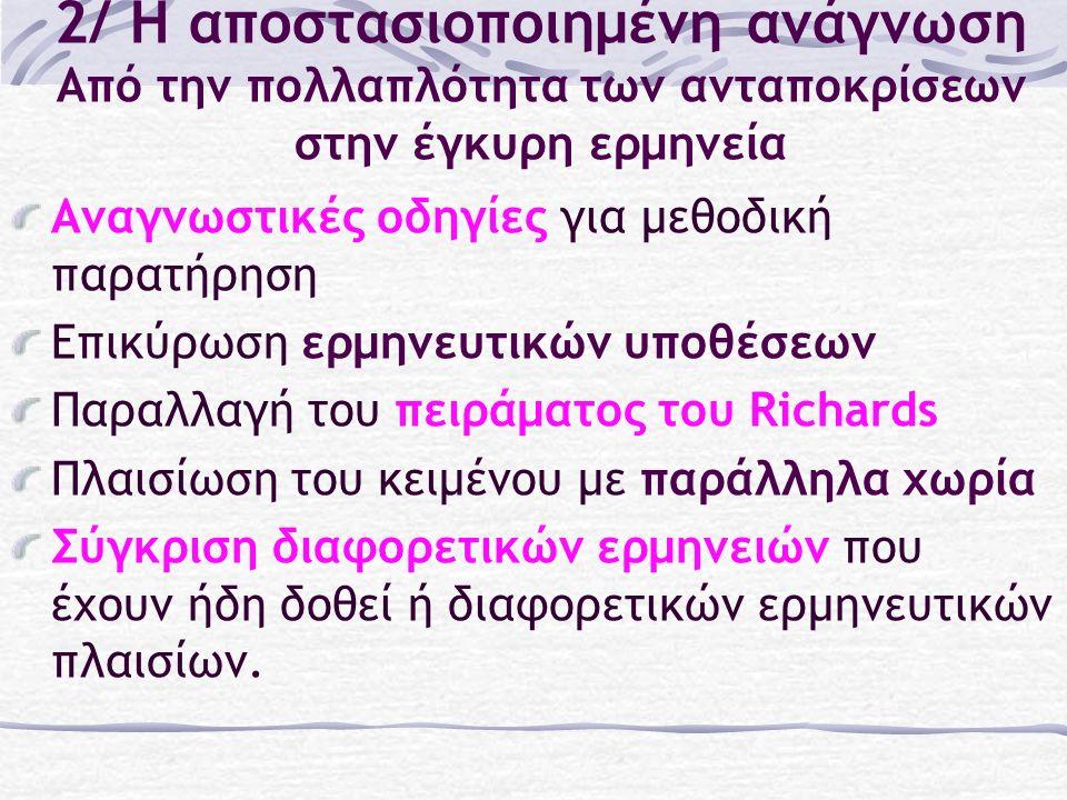2/ Η αποστασιοποιημένη ανάγνωση Από την πολλαπλότητα των ανταποκρίσεων στην έγκυρη ερμηνεία Αναγνωστικές οδηγίες για μεθοδική παρατήρηση Επικύρωση ερμηνευτικών υποθέσεων Παραλλαγή του πειράματος του Richards Πλαισίωση του κειμένου με παράλληλα χωρία Σύγκριση διαφορετικών ερμηνειών που έχουν ήδη δοθεί ή διαφορετικών ερμηνευτικών πλαισίων.