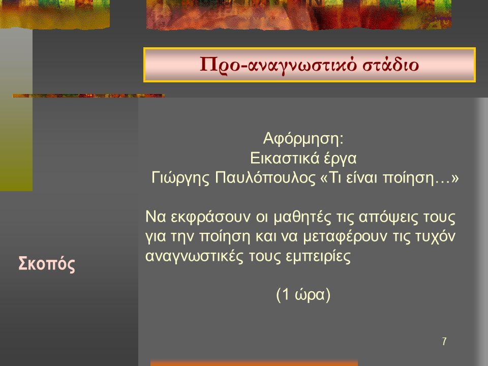 7 Αφόρμηση: Εικαστικά έργα Γιώργης Παυλόπουλος «Τι είναι ποίηση…» Να εκφράσουν οι μαθητές τις απόψεις τους για την ποίηση και να μεταφέρουν τις τυχόν αναγνωστικές τους εμπειρίες (1 ώρα) Προ-αναγνωστικό στάδιο Σκοπός