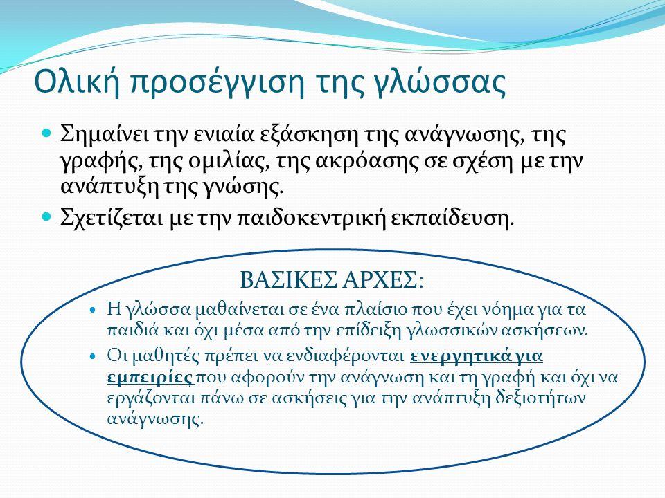 Ολική προσέγγιση της γλώσσας Σημαίνει την ενιαία εξάσκηση της ανάγνωσης, της γραφής, της ομιλίας, της ακρόασης σε σχέση με την ανάπτυξη της γνώσης.