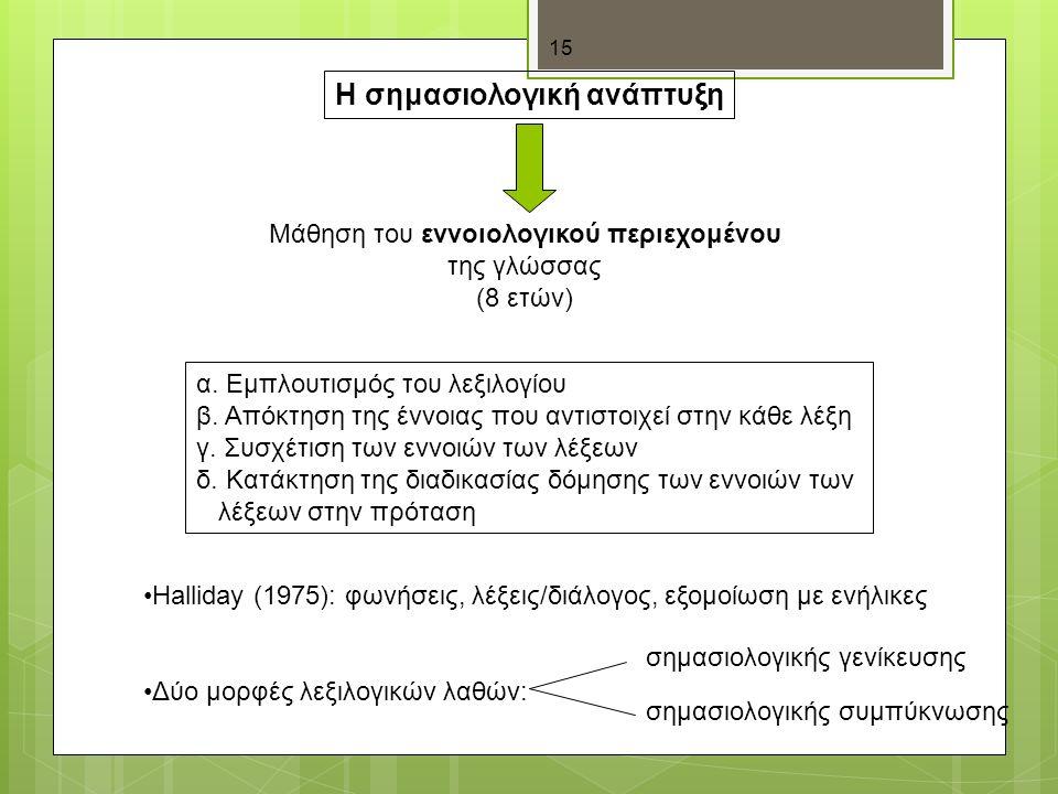 15 Η σημασιολογική ανάπτυξη Μάθηση του εννοιολογικού περιεχομένου της γλώσσας (8 ετών) α.