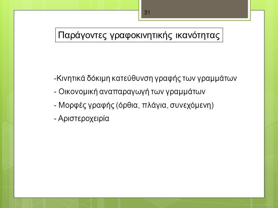 31 Παράγοντες γραφοκινητικής ικανότητας -Κινητικά δόκιμη κατεύθυνση γραφής των γραμμάτων - Οικονομική αναπαραγωγή των γραμμάτων - Μορφές γραφής (όρθια, πλάγια, συνεχόμενη) - Αριστεροχειρία