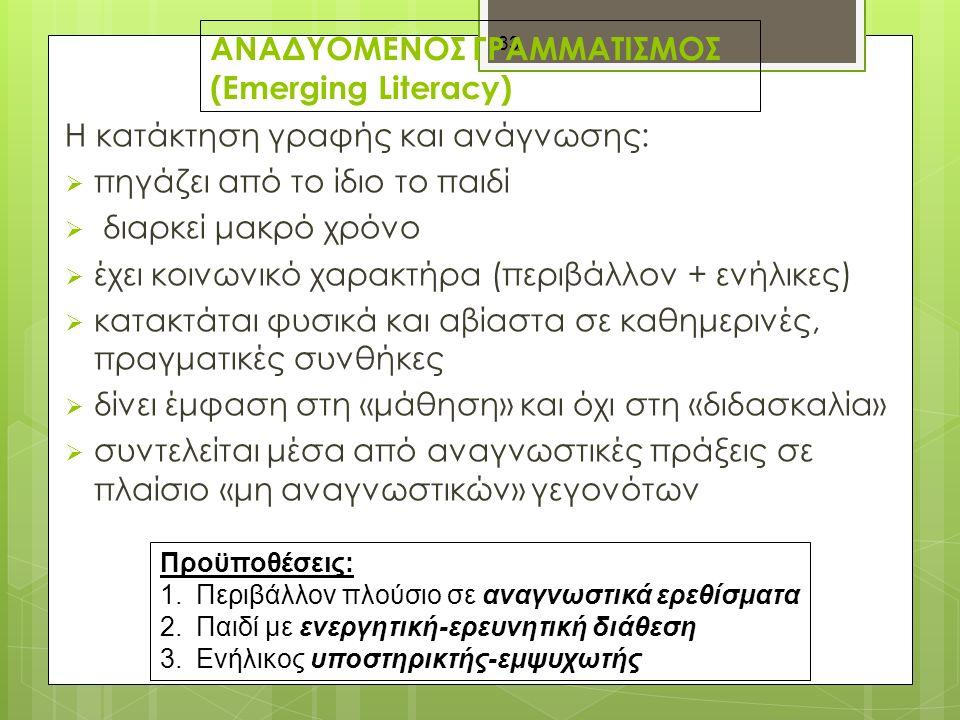 33 ΑΝΑΔΥΟΜΕΝΟΣ ΓΡΑΜΜΑΤΙΣΜΟΣ (Emerging Literacy) H κατάκτηση γραφής και ανάγνωσης:  πηγάζει από το ίδιο το παιδί  διαρκεί μακρό χρόνο  έχει κοινωνικό χαρακτήρα (περιβάλλον + ενήλικες)  κατακτάται φυσικά και αβίαστα σε καθημερινές, πραγματικές συνθήκες  δίνει έμφαση στη «μάθηση» και όχι στη «διδασκαλία»  συντελείται μέσα από αναγνωστικές πράξεις σε πλαίσιο «μη αναγνωστικών» γεγονότων Προϋποθέσεις: 1.Περιβάλλον πλούσιο σε αναγνωστικά ερεθίσματα 2.Παιδί με ενεργητική-ερευνητική διάθεση 3.Ενήλικος υποστηρικτής-εμψυχωτής