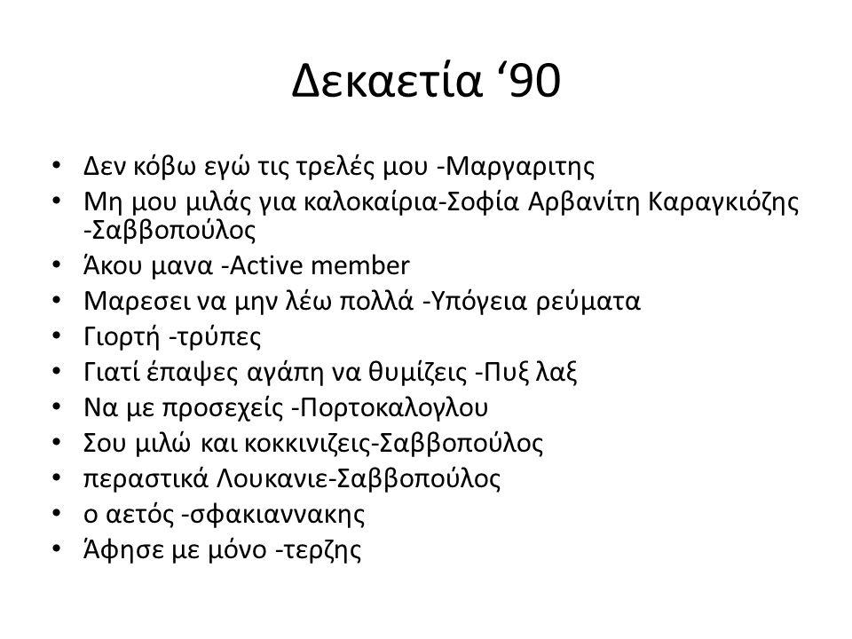 Δεκαετία '90 Δεν κόβω εγώ τις τρελές μου -Μαργαριτης Μη μου μιλάς για καλοκαίρια-Σοφία Αρβανίτη Καραγκιόζης -Σαββοπούλος Άκου μανα -Active member Μαρεσει να μην λέω πολλά -Υπόγεια ρεύματα Γιορτή -τρύπες Γιατί έπαψες αγάπη να θυμίζεις -Πυξ λαξ Να με προσεχείς -Πορτοκαλογλου Σου μιλώ και κοκκινιζεις-Σαββοπούλος περαστικά Λουκανιε-Σαββοπούλος ο αετός -σφακιαννακης Άφησε με μόνο -τερζης