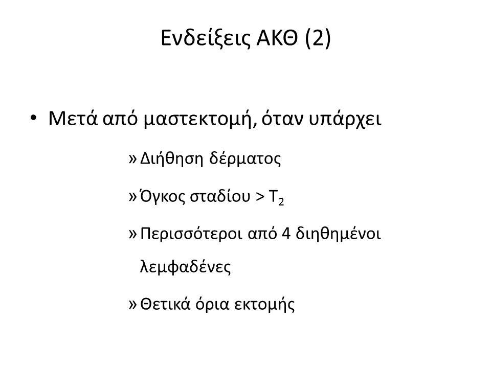 Ενδείξεις ΑΚΘ (2) Μετά από μαστεκτομή, όταν υπάρχει » Διήθηση δέρματος » Όγκος σταδίου > Τ 2 » Περισσότεροι από 4 διηθημένοι λεμφαδένες » Θετικά όρια εκτομής