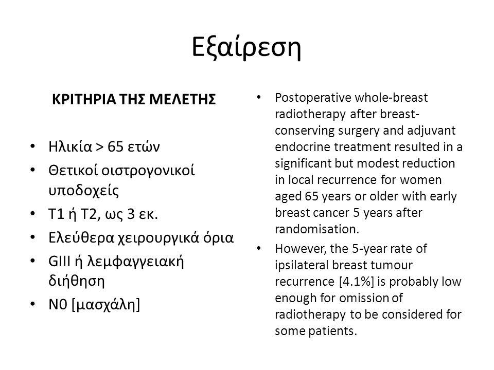 Εξαίρεση ΚΡΙΤΗΡΙΑ ΤΗΣ ΜΕΛΕΤΗΣ Ηλικία > 65 ετών Θετικοί οιστρογονικοί υποδοχείς Τ1 ή Τ2, ως 3 εκ.