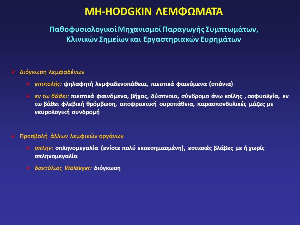 ΜΗ-HODGKIN ΛΕΜΦΩΜΑΤΑ Παθοφυσιολογικοί Μηχανισμοί Παραγωγής Συμπτωμάτων, Κλινικών Σημείων και Εργαστηριακών Ευρημάτων  Διόγκωση λεμφαδένων  επιπολής: ψηλαφητή λεμφαδενοπάθεια, πιεστικά φαινόμενα (σπάνια)  εν τω βάθει: πιεστικά φαινόμενα, βήχας, δύσπνοια, σύνδρομο άνω κοίλης, οσφυαλγία, εν τω βάθει φλεβική θρόμβωση, αποφρακτική ουροπάθεια, παρασπονδυλικές μάζες με νευρολογική συνδρομή  Προσβολή άλλων λεμφικών οργάνων  σπλην: σπληνομεγαλία (ενίοτε πολύ εκσεσημασμένη), εστιακές βλάβες με ή χωρίς σπληνομεγαλία  δακτύλιος Waldeyer: διόγκωση