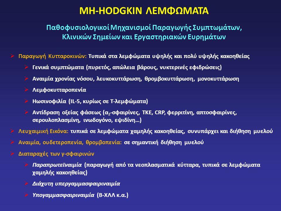 ΜΗ-HODGKIN ΛΕΜΦΩΜΑΤΑ Παθοφυσιολογικοί Μηχανισμοί Παραγωγής Συμπτωμάτων, Κλινικών Σημείων και Εργαστηριακών Ευρημάτων  Παραγωγή Κυτταροκινών: Τυπικά στα λεμφώματα υψηλής και πολύ υψηλής κακοηθείας  Γενικά συμπτώματα (πυρετός, απώλεια βάρους, νυκτερινές εφιδρώσεις)  Αναιμία χρονίας νόσου, λευκοκυττάρωση, θρομβοκυττάρωση, μονοκυττάρωση  Λεμφοκυτταροπενία  Ηωσινοφιλία (IL-5, κυρίως σε Τ-λεμφώματα)  Αντίδραση οξείας φάσεως (α 2 -σφαιρίνες, ΤΚΕ, CRP, φερριτίνη, απτοσφαιρίνες, σερουλοπλασμίνη, ινωδογόνο, εψιδίνη…)  Λευχαιμική Εικόνα: τυπικά σε λεμφώματα χαμηλής κακοηθείας, συνυπάρχει και διήθηση μυελού  Αναιμία, ουδετεροπενία, θρομβοπενία: σε σημαντική διήθηση μυελού  Διαταραχές των γ-σφαιρινών  Παραπρωτεϊναιμία (παραγωγή από τα νεοπλασματικά κύτταρα, τυπικά σε λεμφώματα χαμηλής κακοηθείας)  Διάχυτη υπεργαμμασφαιριναιμία  Υπογαμμασφαιριναιμία (Β-ΧΛΛ κ.α.)