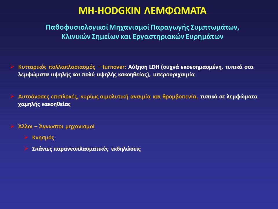 ΜΗ-HODGKIN ΛΕΜΦΩΜΑΤΑ Παθοφυσιολογικοί Μηχανισμοί Παραγωγής Συμπτωμάτων, Κλινικών Σημείων και Εργαστηριακών Ευρημάτων  Κυτταρικός πολλαπλασιασμός – turnover: Αύξηση LDH (συχνά εκσεσημασμένη, τυπικά στα λεμφώματα υψηλής και πολύ υψηλής κακοηθείας), υπερουριχαιμία  Αυτοάνοσες επιπλοκές, κυρίως αιμολυτική αναιμία και θρομβοπενία, τυπικά σε λεμφώματα χαμηλής κακοηθείας  Άλλοι – Άγνωστοι μηχανισμοί  Κνησμός  Σπάνιες παρανεοπλασματικές εκδηλώσεις