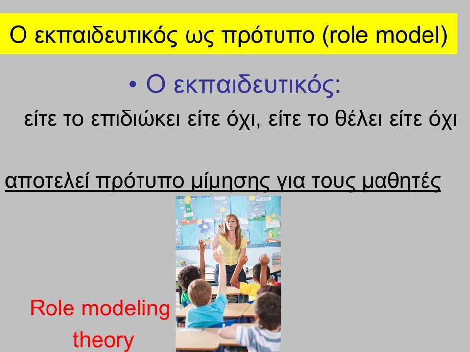 Ο εκπαιδευτικός ως πρότυπο (role model) Ο εκπαιδευτικός: είτε το επιδιώκει είτε όχι, είτε το θέλει είτε όχι αποτελεί πρότυπο μίμησης για τους μαθητές Role modeling theory