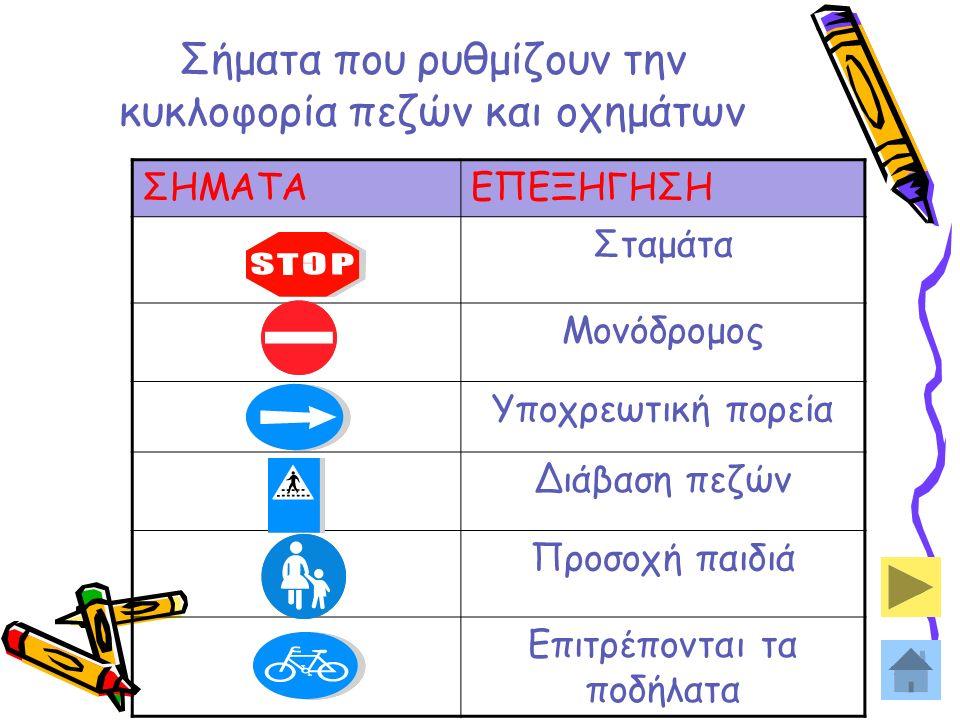 4 Σήματα που ρυθμίζουν την κυκλοφορία πεζών και οχημάτων ΣΗΜΑΤΑΕΠΕΞΗΓΗΣΗ Σταμάτα Μονόδρομος Υποχρεωτική πορεία Διάβαση πεζών Προσοχή παιδιά Επιτρέποντ
