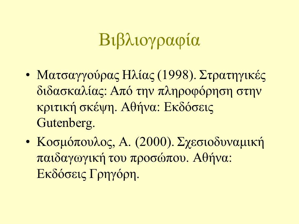 Βιβλιογραφία Ματσαγγούρας Ηλίας (1998).