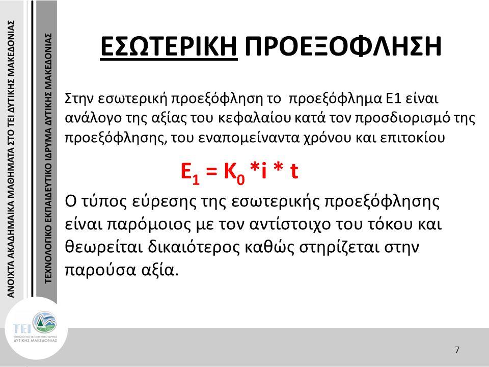 ΕΣΩΤΕΡΙΚΗ ΠΡΟΕΞΟΦΛΗΣΗ Η μέλλουσα (ή ονομαστική) αξία της υποχρέωσης Κ t είναι ίση με το άθροισμα του προεξοφλήματος Ε 1 και της παρούσα αξία της υποχρέωσης Κ 0.