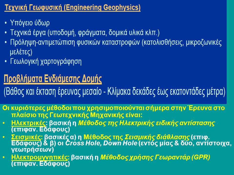 Οι κυριότερες μέθοδοι που χρησιμοποιούνται σήμερα στην Έρευνα στο πλαίσιο της Γεωτεχνικής Μηχανικής είναι: Ηλεκτρικές: βασική η Μέθοδος της Ηλεκτρικής