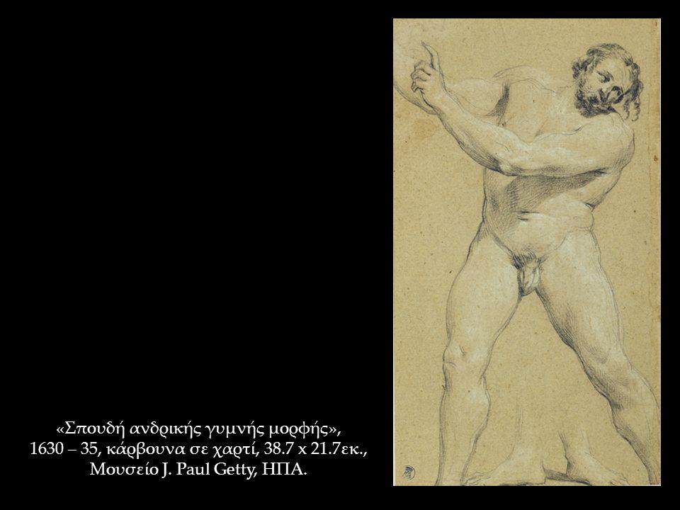 «Σπουδή ανδρικής γυμνής μορφής», 1630 – 35, κάρβουνα σε χαρτί, 38.7 x 21.7εκ., Μουσείο J. Paul Getty, ΗΠΑ.