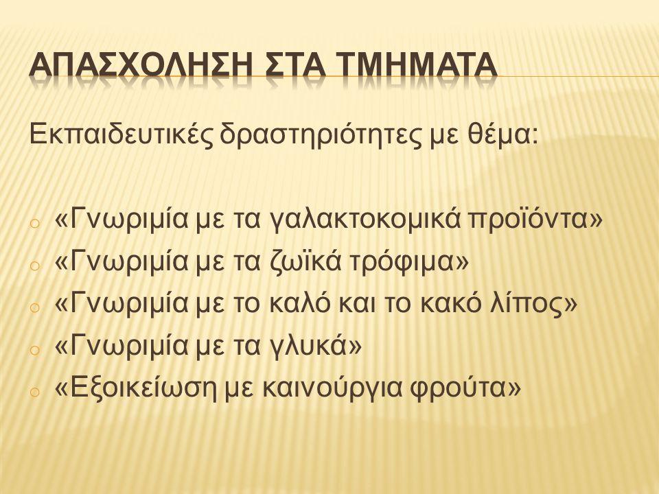 Εκπαιδευτικές δραστηριότητες με θέμα: o «H μεσογειακή πυραμίδα» o «Το καθημερινό μας πιάτο» o «Η άσκηση στην ζωή μας» o «Σωστές συνήθειες»