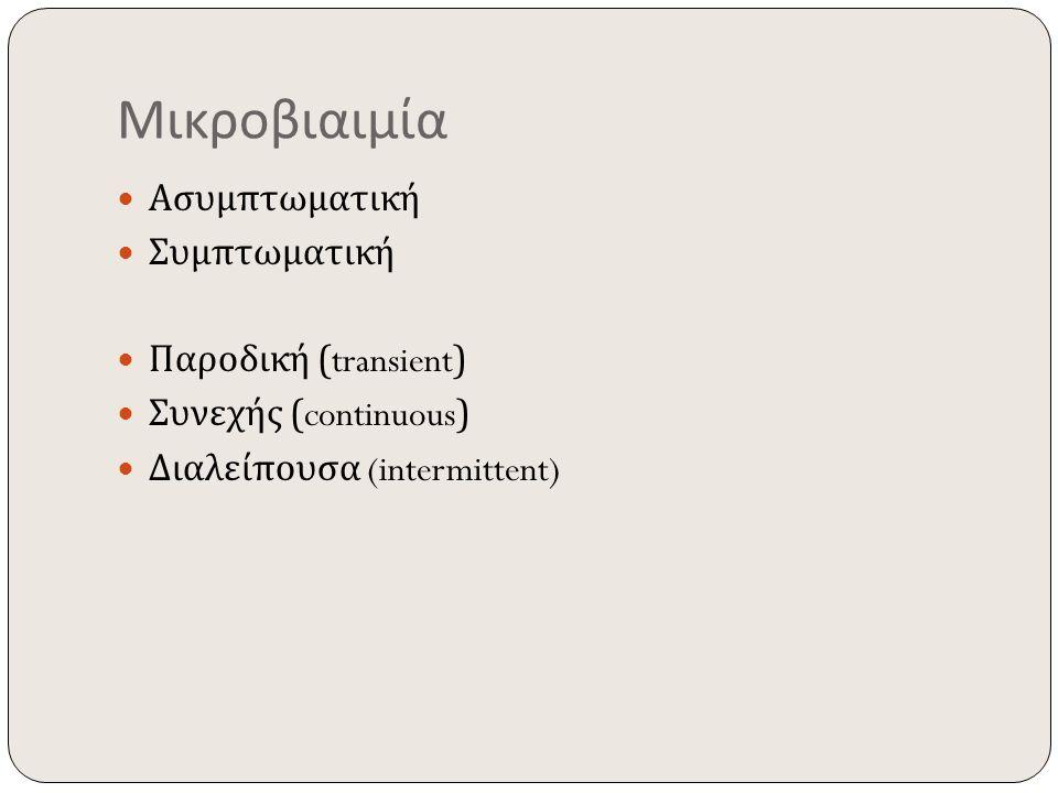 Μικροβιαιμία Ασυμπτωματική Συμπτωματική Παροδική (transient) Συνεχής (continuous) Διαλείπουσα (intermittent)