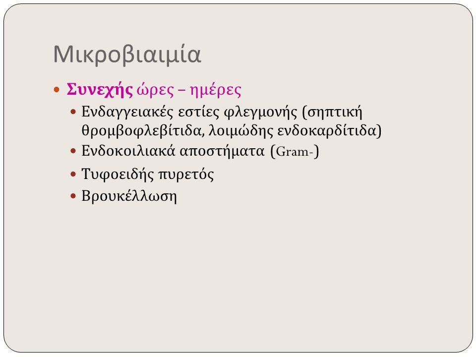 Μικροβιαιμία Συνεχής ώρες – ημέρες Ενδαγγειακές εστίες φλεγμονής ( σηπτική θρομβοφλεβίτιδα, λοιμώδης ενδοκαρδίτιδα ) Ενδοκοιλιακά αποστήματα (Gram-) Τ