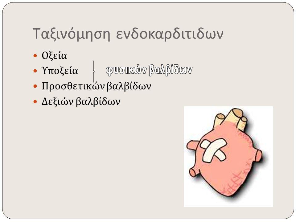 Ταξινόμηση ενδοκαρδιτιδων Οξεία Υποξεία Προσθετικών βαλβίδων Δεξιών βαλβίδων
