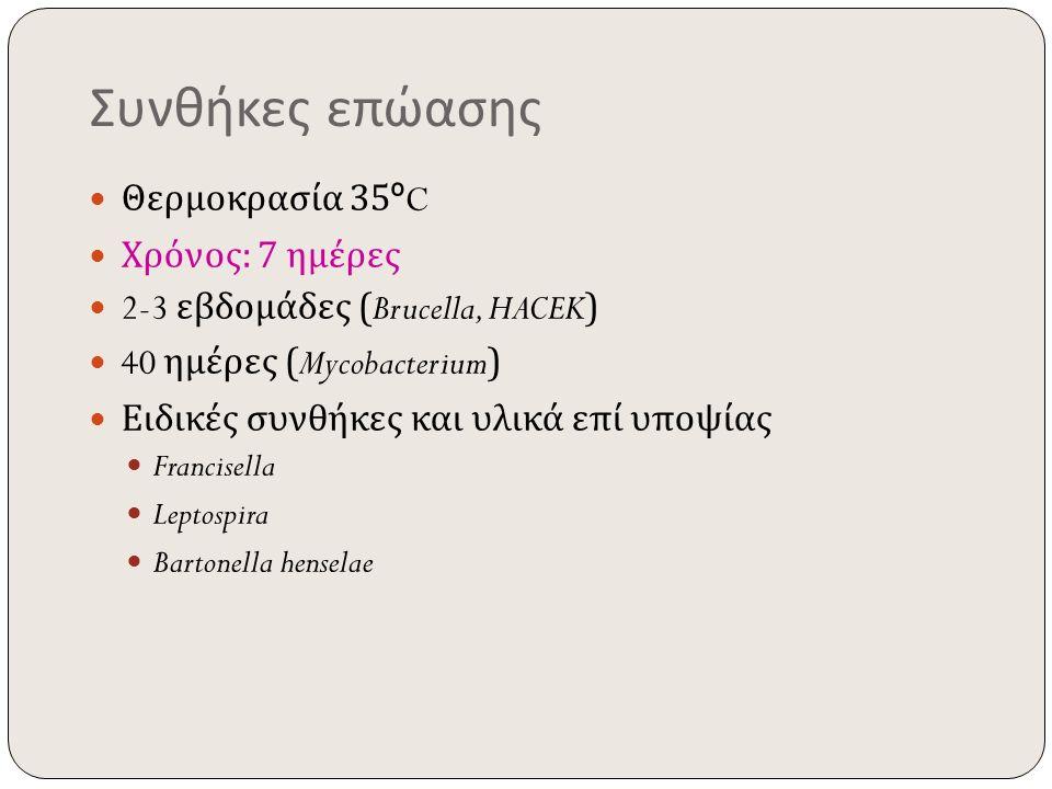 Συνθήκες επώασης Θερμοκρασία 35 º C Χρόνος : 7 ημέρες 2-3 εβδομάδες (Brucella, HACEK) 40 ημέρες (Mycobacterium) Ειδικές συνθήκες και υλικά επί υποψίας