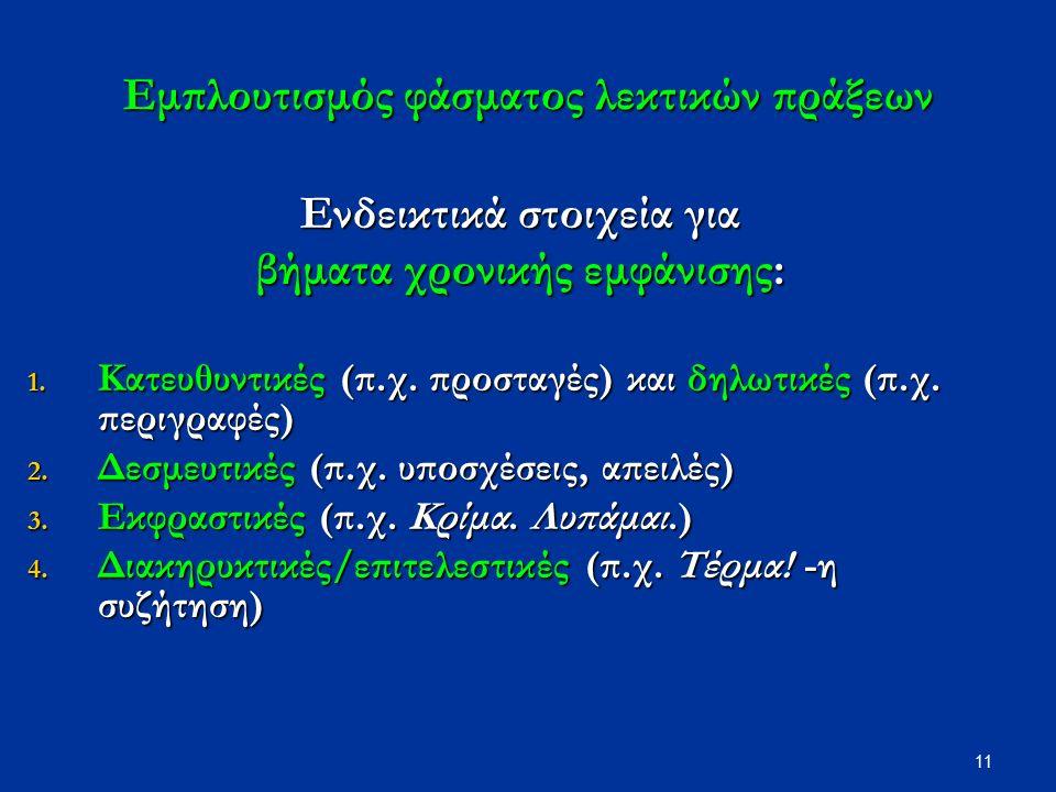 11 Εμπλουτισμός φάσματος λεκτικών πράξεων Ενδεικτικά στοιχεία για βήματα χρονικής εμφάνισης: 1.