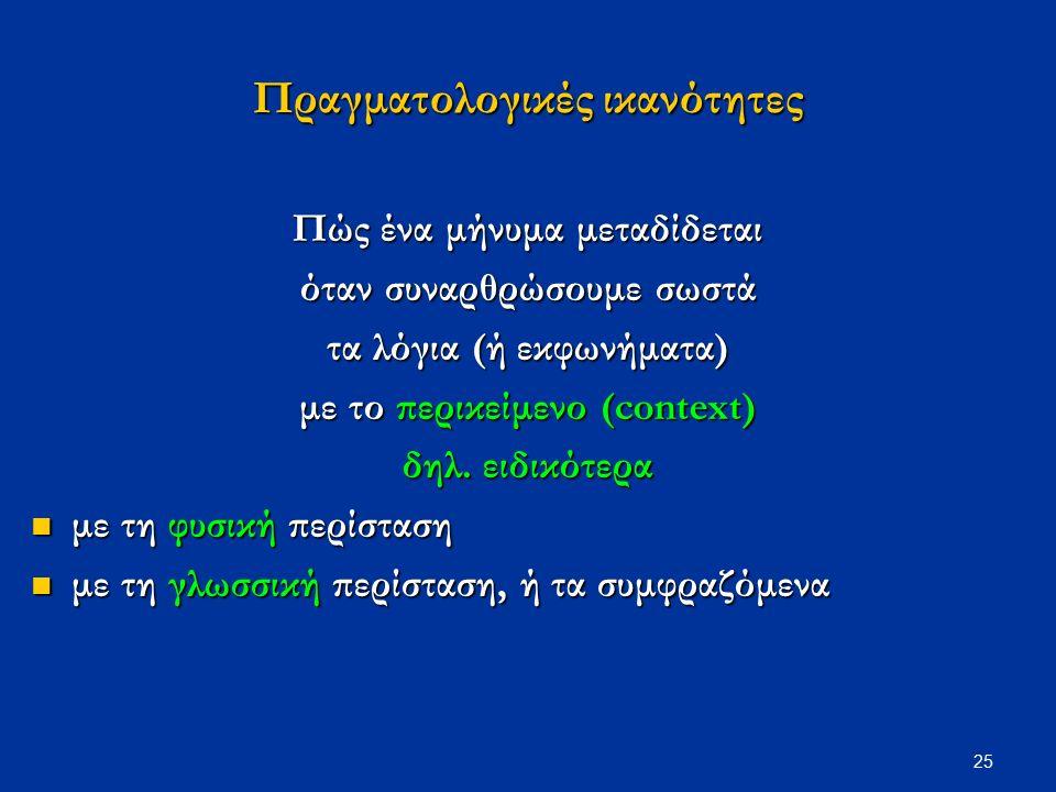 25 Πραγματολογικές ικανότητες Πώς ένα μήνυμα μεταδίδεται όταν συναρθρώσουμε σωστά τα λόγια (ή εκφωνήματα) με το περικείμενο (context) δηλ.