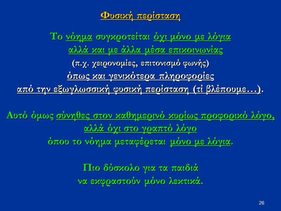 26 Φυσική περίσταση Το νόημα συγκροτείται όχι μόνο με λόγια αλλά και με άλλα μέσα επικοινωνίας (π.χ.