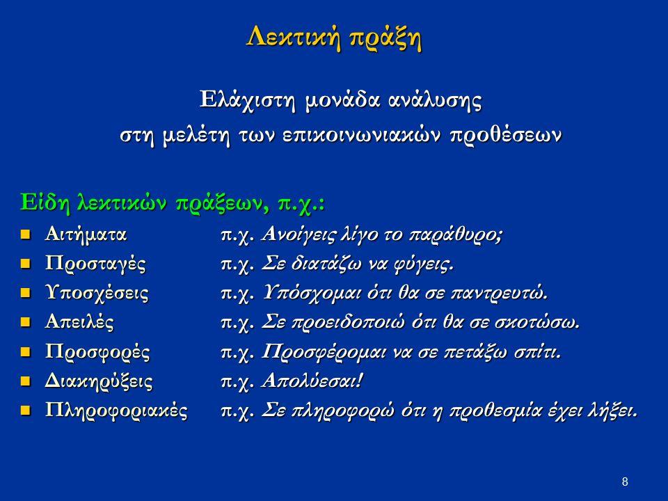 9 Μετουσίωση λεκτικών πράξεων σε γλωσσικά εκφωνήματα Μια λεκτική πράξη μπορεί να πραγματοποιηθεί ποικιλοτρόπως, δηλ.