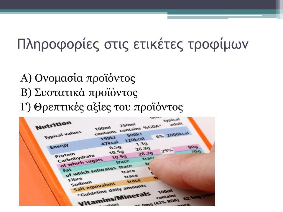 Πληροφορίες στις ετικέτες τροφίμων Α) Ονομασία προϊόντος Β) Συστατικά προϊόντος Γ) Θρεπτικές αξίες του προϊόντος