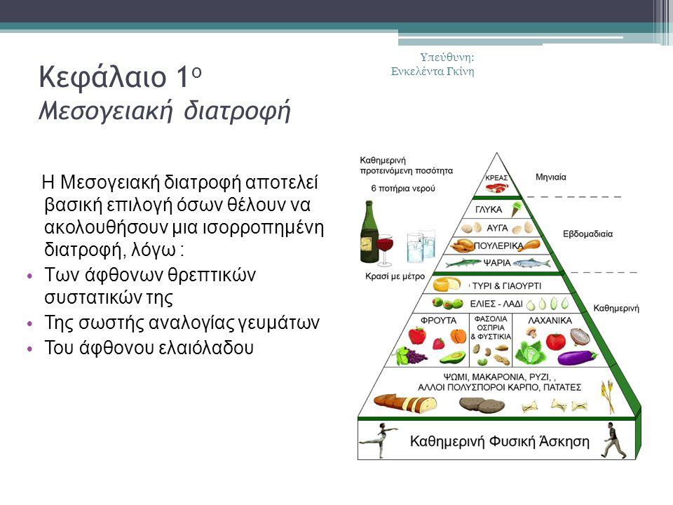 Κεφάλαιο 1 ο Μεσογειακή διατροφή Η Μεσογειακή διατροφή αποτελεί βασική επιλογή όσων θέλουν να ακολουθήσουν μια ισορροπημένη διατροφή, λόγω : Των άφθονων θρεπτικών συστατικών της Της σωστής αναλογίας γευμάτων Του άφθονου ελαιόλαδου Υπεύθυνη: Ενκελέντα Γκίνη