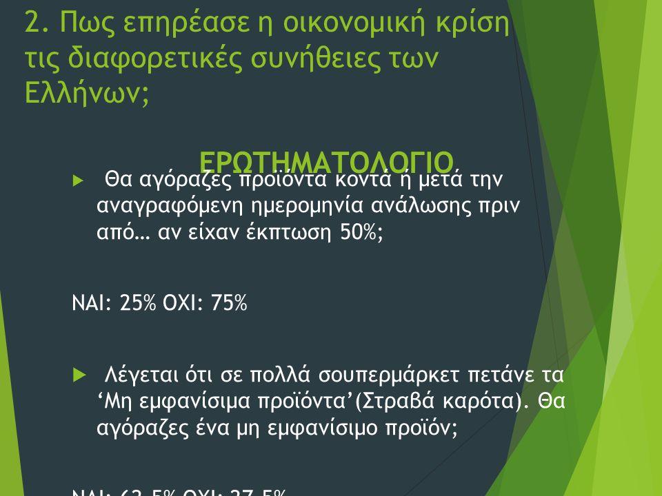 2. Πως επηρέασε η οικονομική κρίση τις διαφορετικές συνήθειες των Ελλήνων; ΕΡΩΤΗΜΑΤΟΛΟΓΙΟ  Θα αγόραζες προϊόντα κοντά ή μετά την αναγραφόμενη ημερομη