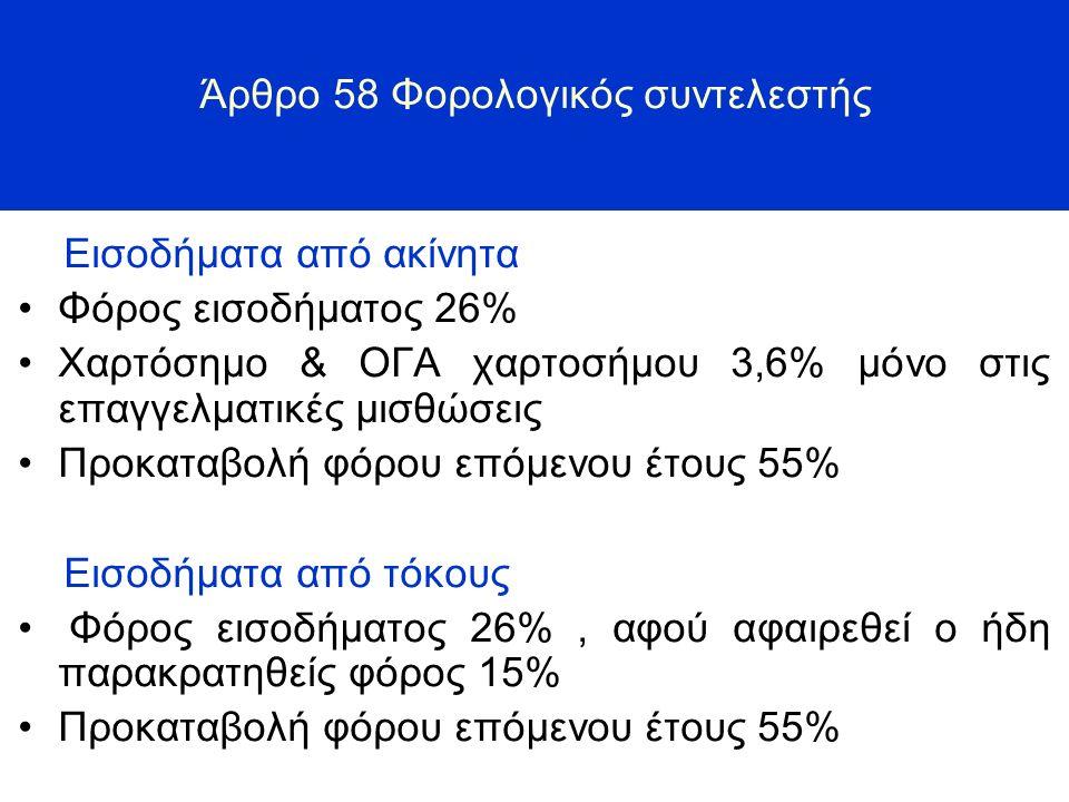 Άρθρο 58 Φορολογικός συντελεστής Εισοδήματα από ακίνητα Φόρος εισοδήματος 26% Χαρτόσημο & ΟΓΑ χαρτοσήμου 3,6% μόνο στις επαγγελματικές μισθώσεις Προκαταβολή φόρου επόμενου έτους 55% Εισοδήματα από τόκους Φόρος εισοδήματος 26%, αφού αφαιρεθεί ο ήδη παρακρατηθείς φόρος 15% Προκαταβολή φόρου επόμενου έτους 55%