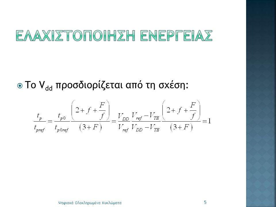  Το V dd προσδιορίζεται από τη σχέση: Ψηφιακά Ολοκληρωμένα Κυκλώματα 5