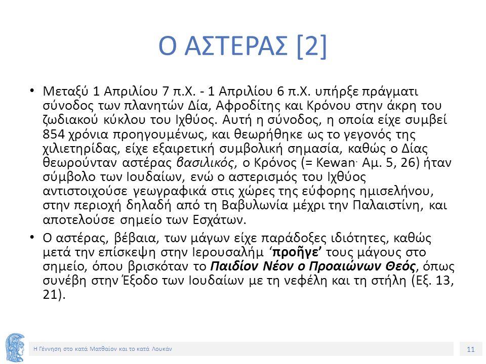 11 Η Γέννηση στο κατά Ματθαίον και το κατά Λουκάν Ο ΑΣΤΕΡΑΣ [2] Μεταξύ 1 Απριλίου 7 π.Χ. - 1 Απριλίου 6 π.Χ. υπήρξε πράγματι σύνοδος των πλανητών Δία,